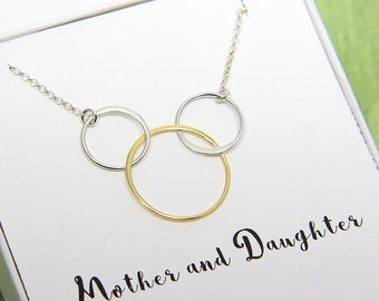 Mother Daughter necklace, Mother of 2 Daughters Necklace, Mother Daughters Three Rings Necklace, 3 Gold Ring Necklace, Gift from daughters