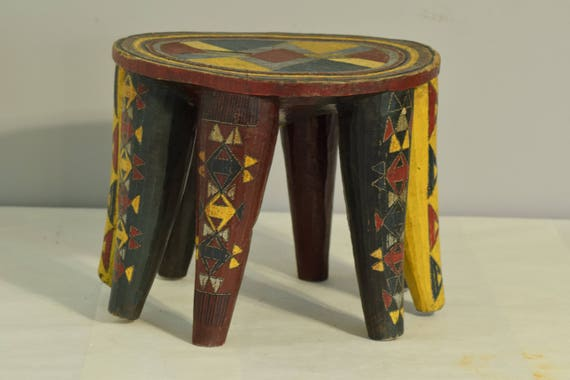 African Stool African Nupe Painted Wood Carved Nigeria Colorful Home Yellow Green Furniture Chair Stool Tribal Nupe Stool