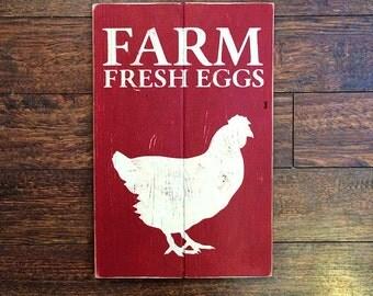 Farm Fresh Eggs Rustic Wood Sign | Distressed Cream on Red