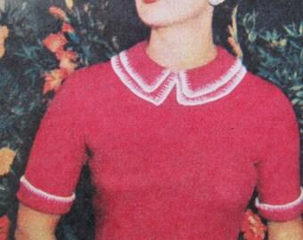 e8688efc1c275b 1955 Ladies Short Sleeved Sweater Jumper Knitting Pattern PDF Instant  Download Woman s Weekly Knitting Pattern Decorative Collar Trim