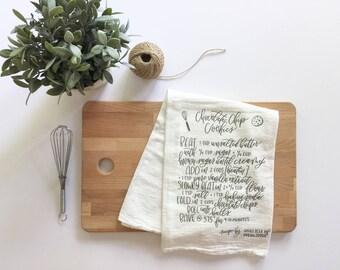 flour sack towel | housewarming | tea towel | recipe towel | home decor | bridal shower gift | chocolate chip cookie recipe | hand lettered