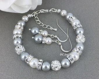 Gray and White Pearl Bracelet, Swarovski Bracelet and Earrings, Bridesmaids Gift, Bridesmaid Jewelry, Gray and White Wedding, Pearl Jewelry