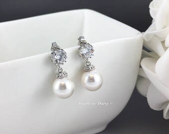 Swarovski Pearl Earrings, Wedding Earrings, Bridal Earrings, Bridesmaid Earrings, Wedding Jewelry, Cubic Zirconia Earrings