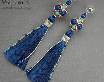 "Long tassel earrings ""Dark Lapis"", earrings with tassels, beaded earrings, bead woven earrings, bead weaving earrings, beadwork earrings"
