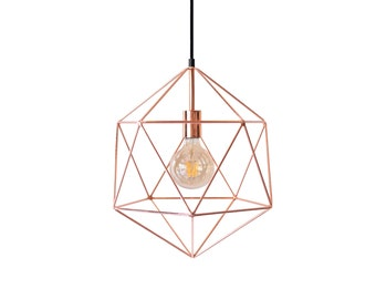 geometric lighting. copper geometric polyhedron pendant light modern chandelier lighting handmade cage diamond ceiling hanging industrial globe