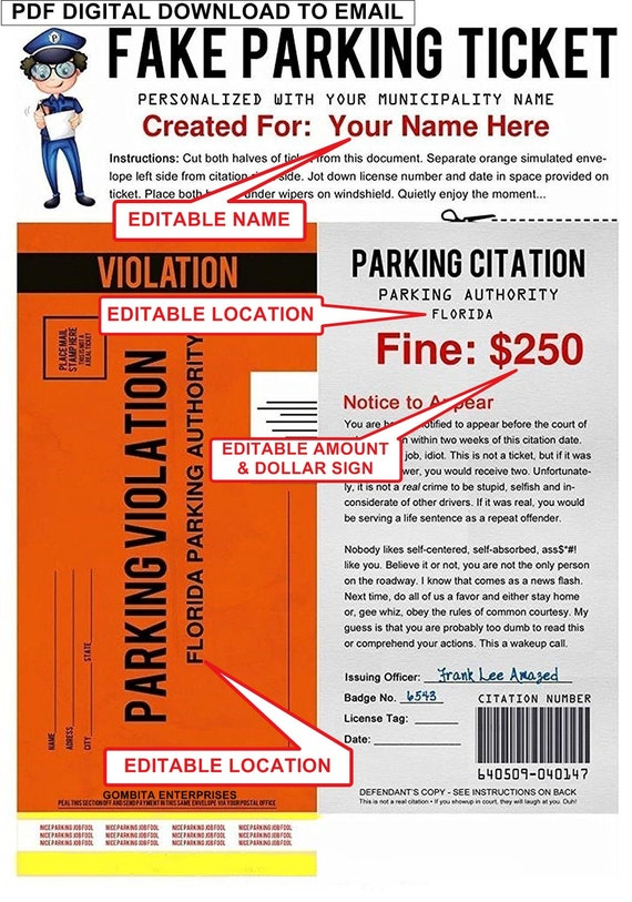 Transformative image with fake parking ticket printable