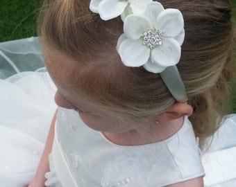 Girls childrens hair headband bridesmaid, flower girl, holy communion, with Silk Flowers and Rhinestone Centres