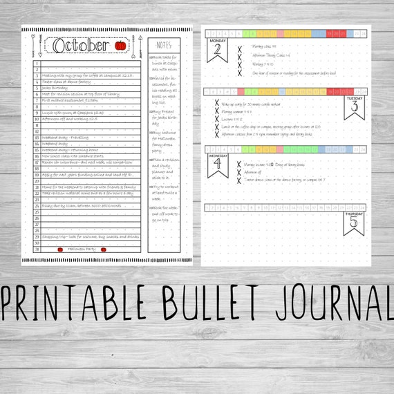 Printable Bullet Journal Pages  A5  A4  US Letter  8 5x11