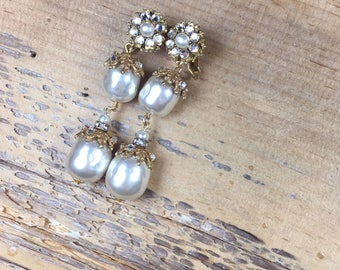 Vintage Miriam Haskell signed vintage rhinestone & faux pearl dangle earrings - something old for a bride - wedding/event accessories