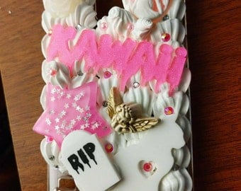 Samsung Galaxy s5 pink and white sweet creepy kawaii decoden whipped phone case