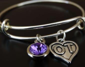 OT Bangle Bracelet, Adjustable Expandable Bangle Bracelet, OT Charm, OT Pendant, Occupational Therapy, Occupational Therapy Assistant