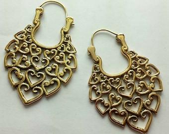 Beautiful Brass Heart of Hearts Earrings - Heart Earrings, Boho Earrings, Ethnic, Gypsy Earrings, Funky EB22