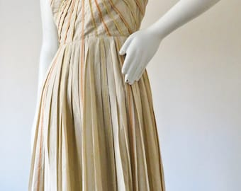 1950s Pleated and Embroidered Cotton Dress by Maryon's Fifth Avenue Scottsdale