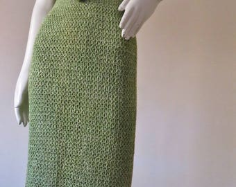 Stunning Vintage 1970s does 1940s Hand Crochet Cotton Knit Dress