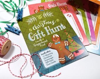 Christmas Gift Hunt Gingerbread Fred Rhyming Clue Cards - Set #1 (11 CLUES) Scavenger Hunt Christmas Gift Hunt.