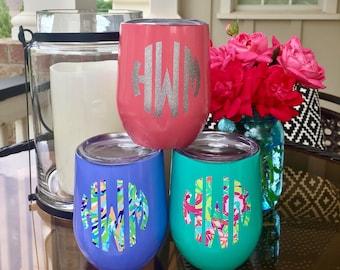 Insulated Stemless Wine Glass, Monogrammed SWIG, SWIG Wine Glass, Insulated Wine Cup, Colored Wine Cup, Lilly Monogrammed Wine Glass
