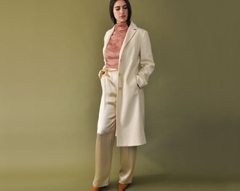 Ivory Winter Coat, Long Ivory Coat, Bridal Coat, Vintage Wool Coat, Minimalist Coat, Womens Coat, Long White Coat, Modern Overcoat, Small