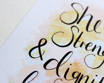 Strength & Dignity A5 Watercolour Hand-lettered Scripture Print