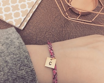 Liberty Fabric Hand Stamped 12mm Initial Disc Bracelet | Gift | Personalised