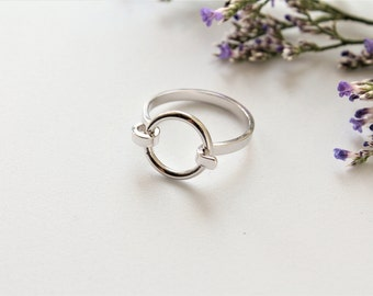 ON SALE// Circle of Life Ring Circle Ring Silver Circle Design Ring Open Circle Ring Circle Karma Ring Eternity Ring Round Ring Aleli Jewels
