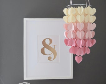 Pink & Cream Upside Down Ombre Heart Paper Mobile Chandelier