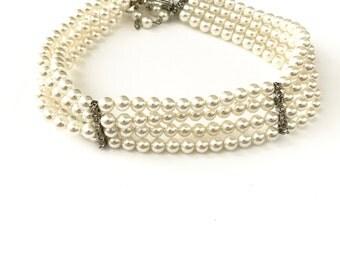 Vintage Multi Strand Pearl Choker Necklace