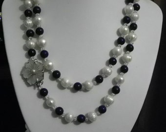 culture and lapis lazuli beads necklace