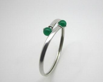 Modernist Rey Urban Sterling Silver Bracelet & 2 Green Chrysoprase Stones Stockholm Sweden 1960s