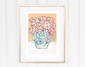 Pink Flower Bouquet Print, Floral Wall Art, Floral Poster, Flower Poster, Acrylic Painting Archival Print, Gift for Woman, Mother's Day Gift