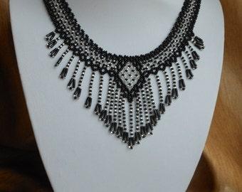 Beaded Necklace Black necklace Fringe necklace Collar necklace Seed bead necklace Statement necklace Boho necklace Vintage Bib necklace