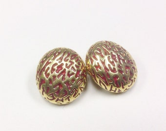 1980s, statement, clip on earrings, signed Soleil.
