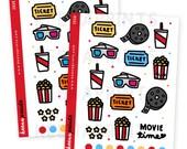 Z039 | MOVIE TIME Deco Collection Stickers Perfect for Erin Condren Life Planner, Filofax, Plum Paper, scrapbooking