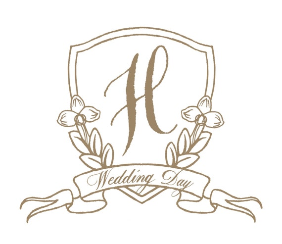 Wedding Monogram Crest with Calligraphy & Flourishes | Custom Watercolor Crest | For Invitations, Save the Dates, Stationery and Gift Bags