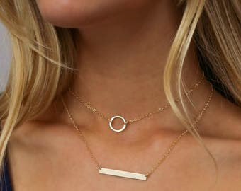 Circle Choker,  Karma Choker,  Gold Circle Choker,  Choker in 14k Gold Fill or Sterling Silver,  Gift for Her,  LEILAjewelryshop,  N201