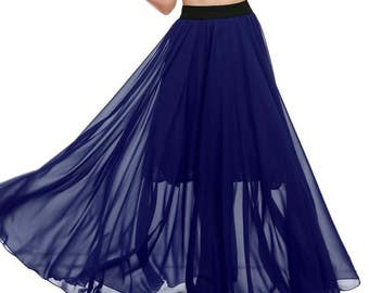 Chiffon skirt maxi \ Dark blue chiffon skirt maxi \ Chiffon polka dot skirt maxi \ Summer chiffon skirt maxi