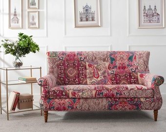 FREE SHIPPING! Kantha Pattern Hand Tufted Settee