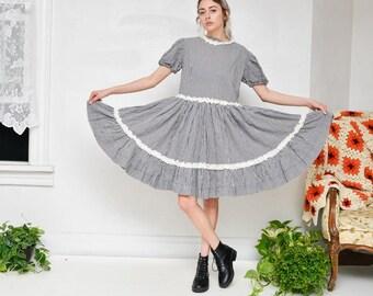 60s Vintage Black & White Plaid Handmade Square Dancing Prairie Knee-Length Ruffle Frilly Dress
