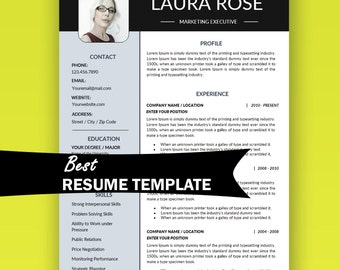 Resume Template Instant Download with Photo / Marketing Resume, Minimalist Resume, Digital, Business Resume, Executive Resume, Sales Resume
