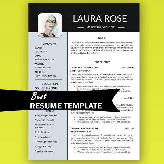 resume template instant with photo marketing
