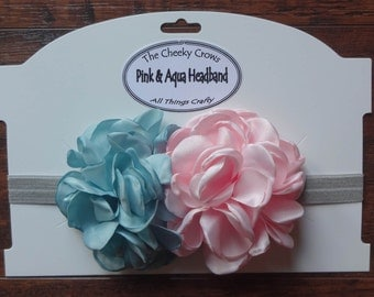 Singed Flower Headband, Pink Aqua Headband, Baby Headband, Toddler Headband, Cakesmash Headband, Headband, Hairband, Photoshoot Headband