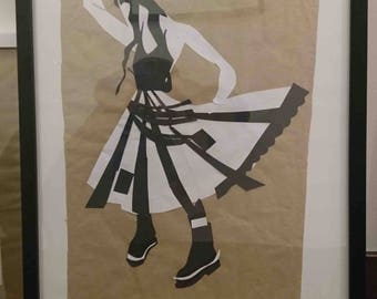 Fashion Illustration in collage using recycled materials. A4 size framed to A3.