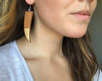 Boho statement earrings, Tribal earrings, Gold dipped horn earrings, Boho jewelry, Womens earrings