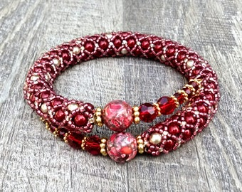 Hand Beaded Red Bracelet - Memory Wire Bracelet - Bangle Bracelet - READY TO SHIP