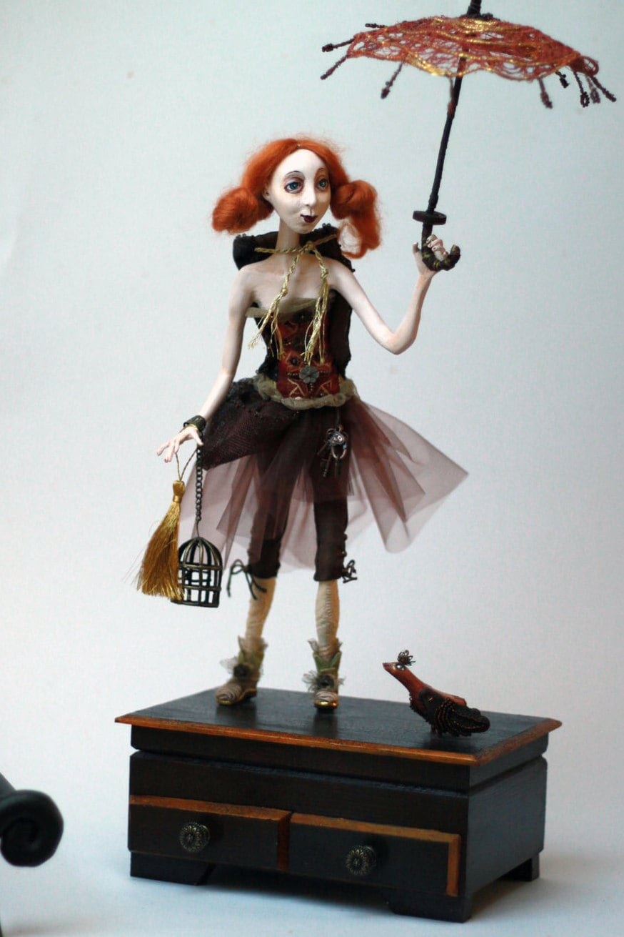 Unique Art Doll And Jewelry Box Mixed Media Art Paper Clay