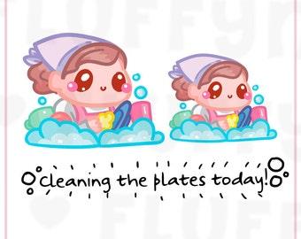 Dishwashing Time Sammie || Planner Stickers, Cute Stickers for Erin Condren (ECLP), Filofax, Kikki K, Etc. || SFS39