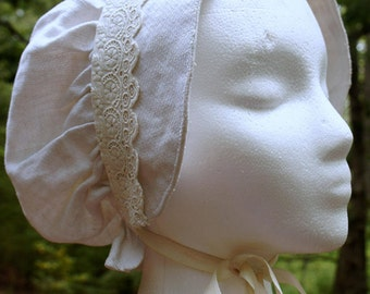 reproduction Victorian day cap made from antique linen and lace
