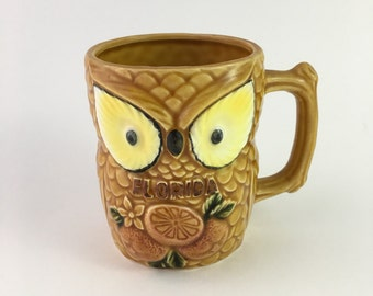 Vintage Florida owl mug, kitschy Florida mug, GT Made in Japan mug, kitschy owl mug, souvenir mug, vintage owl mug, vintage florida mug