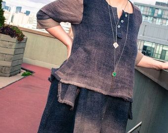 Ombre Linen Dress / Two Piece Shirt Dress / Boho Chic Linen Dress Hand Dyed with Natural Dyes / Black Walnut