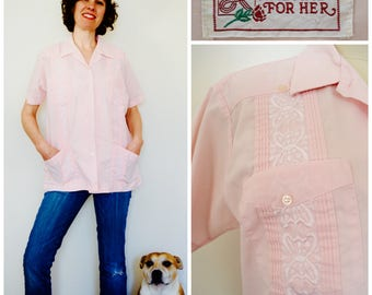 Guayabera Pink Shirt/ Haband for Her Mexican Wedding Shirt/ 80s Embroidered & Pleated Rockabilly Fiesta Button Down Top/ Tropical Shirt