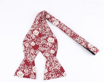 Men's Maroon And Cream - Self Tie Bow Tie| Flower | Self Tie | Bow Tie | Bowtie | Floral | Wedding | Groom | Gift | Ideas | for him